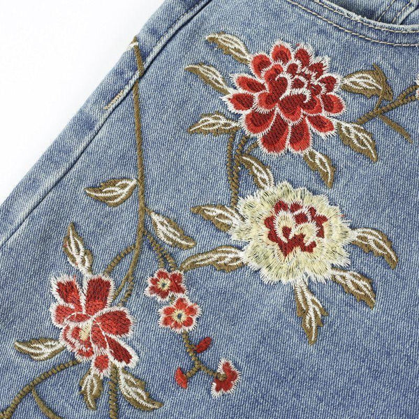 2017-Vintage flower embroidery jeans-Simplee