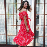 2017-Vintage off shoulder floral dress-Simplee