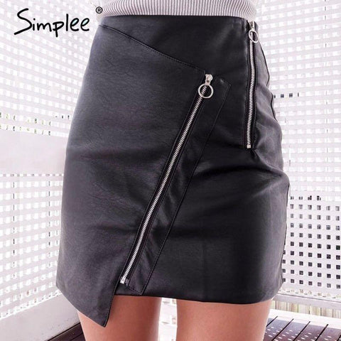 2017-Vintage zipper leather skirt-Simplee