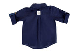 3/4 Sleeve Linen Shirt - Navy