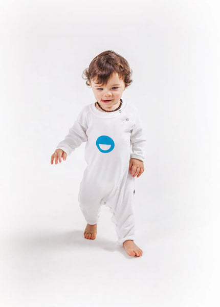 White Basic Babygrow - Unbrushed Cotton Fleece