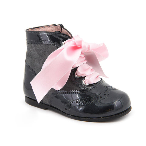 Black Patent Leather Boots with Pink Ribbon