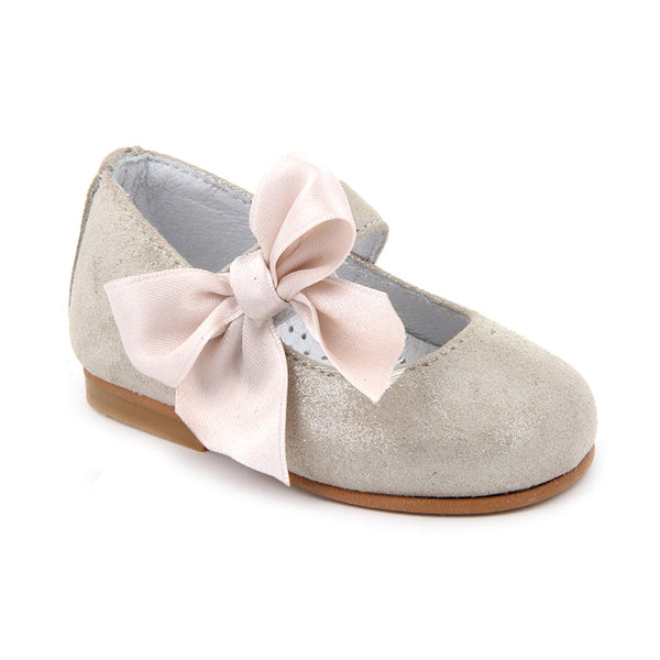 Gold Crossbar and Ribbon Bow Shoes