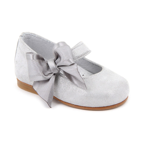 Silver Crossbar and Ribbon Bow Shoes