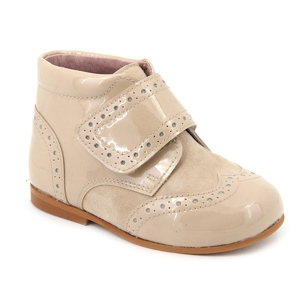 Beige Suede Boots with Velcro Strap