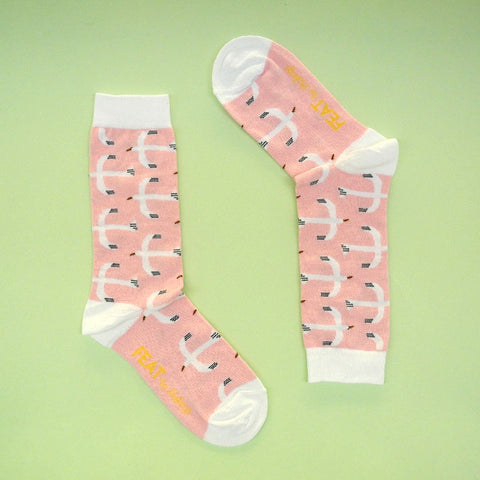 Ladies' Socks Pink Seagulls size 5-8