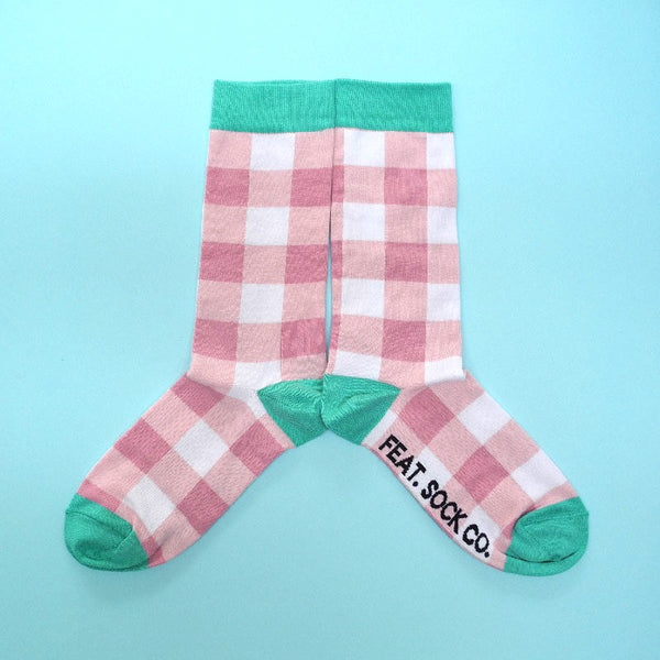 Ladies' Pink Check Sock