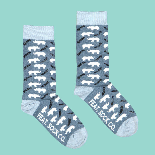 Men's White Rhino Sock