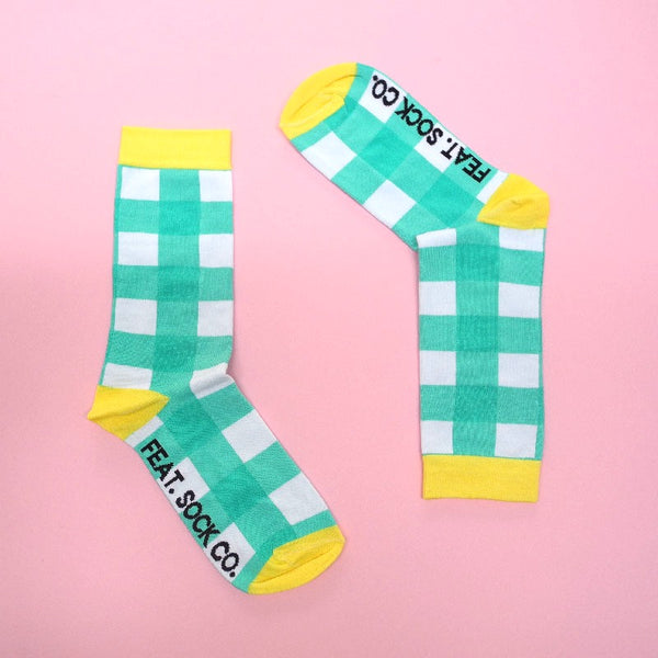 Men's Socks Turquoise Check size 8-11