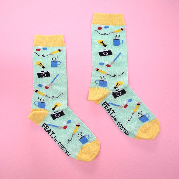 Unisex Socks Camera size 8-11 / 5-8
