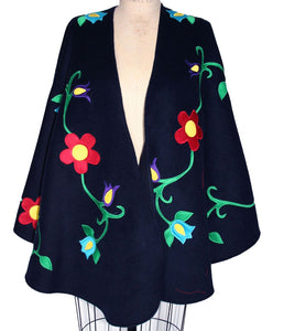 EASTERN WOODLAND FLORAL CAPE-CASHMERE WOOL