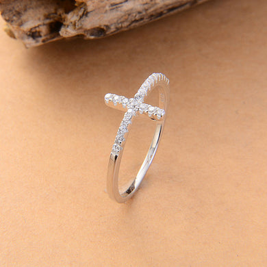 Cross silver plated rings Fashion Jewelry free shipping rose gold plated crystal vintage ring