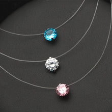 Colorful Zircon Choker Necklace Women New Fashion Jewelry Cute Gift Whie Pink Blue