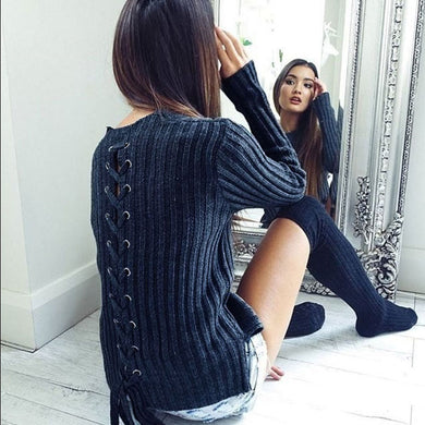 Back Lace Up Women Top Pullover Cross Fall Long Sleeve T shirt Knitted Loose