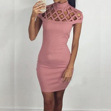 Hollow Out Mesh Slim Dresses Sexy Skinny Cut Mini