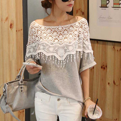 Crochet Lace Hollow Out Women's T Shirt Slash Neck Tassels Batwing Sleeve