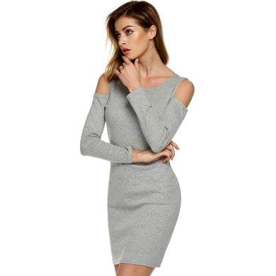 New Cold Shoulder Long Sleeve Women Dress Bodycon Female Tunic
