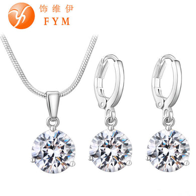 21 Colors Jewelry Sets Round Cubic Zircon Hypoallergenic Copper Necklace