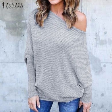 Sexy Off Shoulder Shirts Batwing Long Sleeve Slash Neck Blusas Casual Solid Tops Plus Size S-5XL