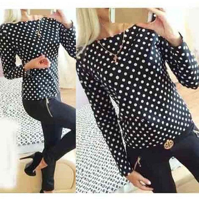 Women fashion new round collar camisa dot chiffon wave point long-sleeved shirt clothes Female Blouse