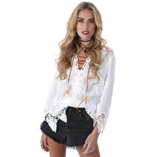 Elegant crochet floral lace blouse shirt Women 3/4 sleeve white Tunic blouses