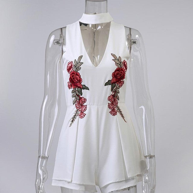 Elegant V Neck Rose Florla Embroidery Women Playsuits Sleeveless White Winter Rompers Jumpsuits Casual Beach Overall