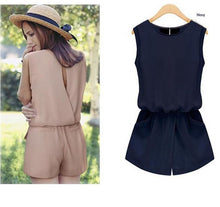 Chiffon Jumpsuit Women Back Hollow Out Playsuit Overalls Rompers With Pockets