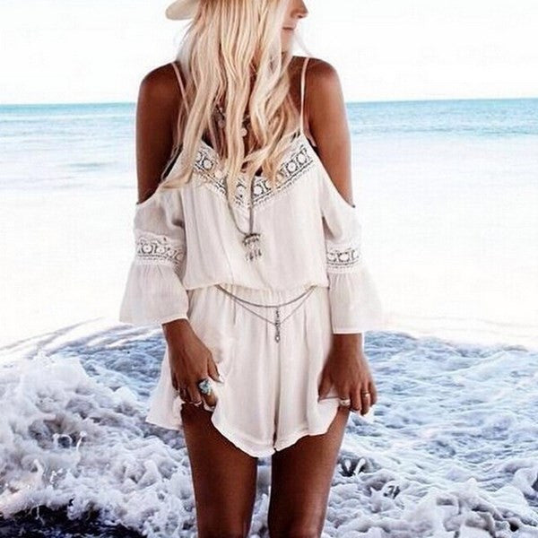 Lace Chiffon Jumpsuit Rompers Summer Sexy Strap Off Shoulder Backless Bodysuit Beach Wear Playsuit Short Overalls