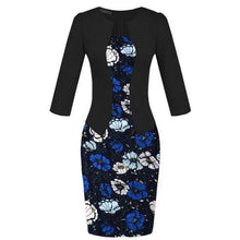 Office Lady Flower Patchwork Tunic Patchwork One Piece Dress
