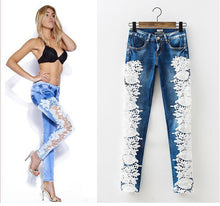 Hollow out lace patchwork skinny full length jeans women pants trousers (Size 2 - 14)