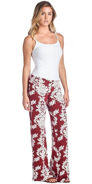 Floral Casual Wide Leg Long Harem Pants Loose Elastic Waist Palazzo Trousers New Beach Pants