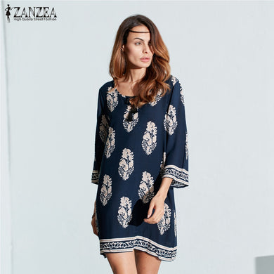 Retro 3/4 Sleeve Lace Up Long Tops Casual Loose Dress