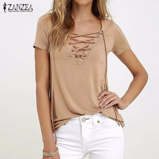 Sexy V Neck Blouses Short Sleeve Casual Hollow Out Lace Up Solid Shirts Plus Size