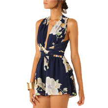 Romper Open Back jumpsuit Chiffon Floral Summer Sleeveless V-Neck Cross Bandage Jumpsuit