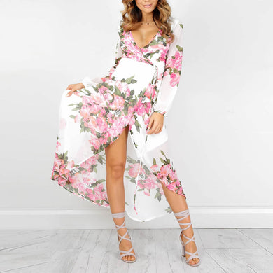 Chiffon Beach Dress ankle-length printed floral white tunics