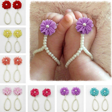 1Pair Cute Baby Girls Pearl Beads Foot Chain Barefoot Infant Toddler Foot Chiffon Flower Beach Sandals Anklet