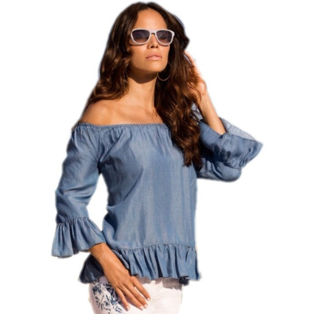 Off shoulder sexy slash neck long sleeve denim top tees women blue jeans top (S /M /L)