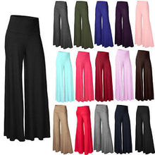 Casual New Women's Plain Palazzo Wide Leg Flared Ladies Trousers Pants 8 - 16