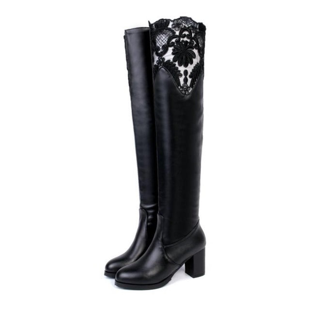 New Round Toe Over Knee Boots Fashion Lace Boots Feminine High Quality Thick Heel