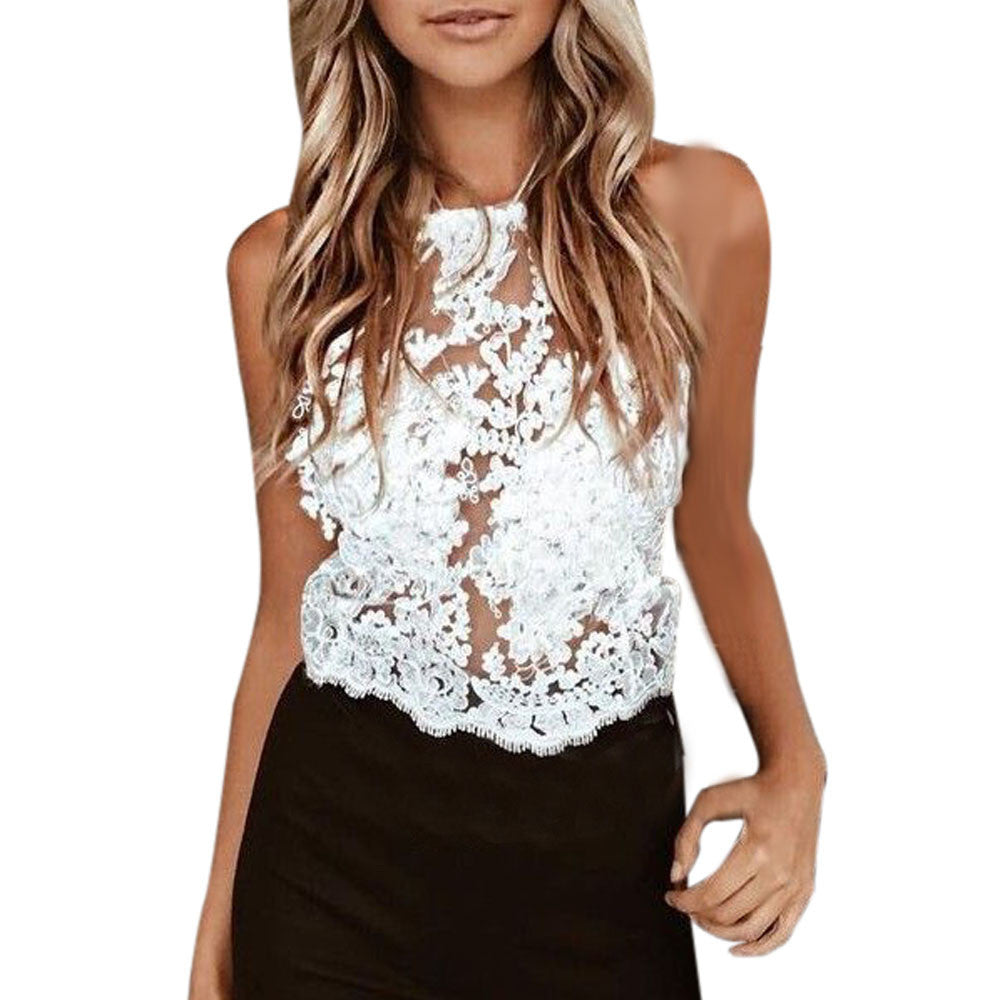 0603ad739ab685 Women Lace Tops Sexy Floral Embroidery Hollow Out Vest Sleeveless Shirt  Casual White Crop Top