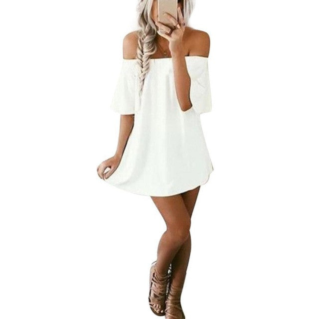 Women Short Sleeve Pullover Dress Off Shoulder Slash Neck Casual White Dresses