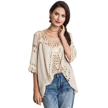 Pure Manual Crochet Women Beach White Lace Hollow O Neck