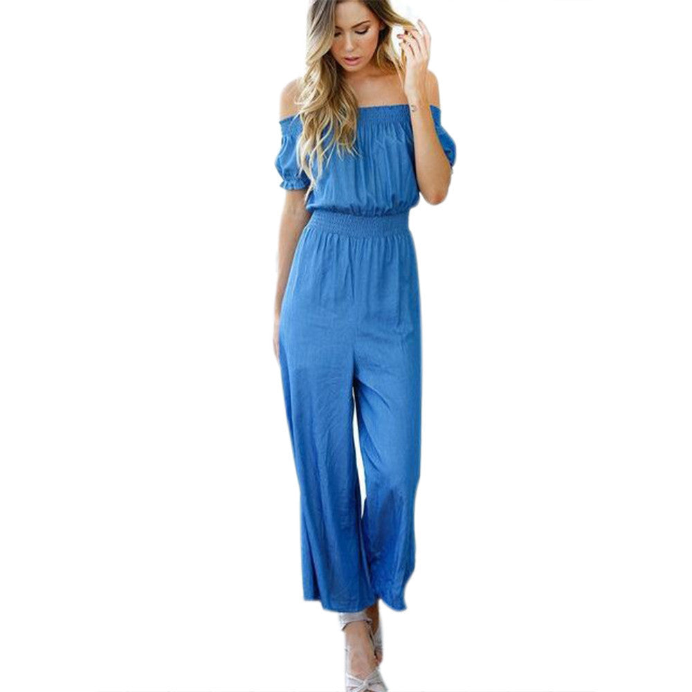 Italian Style Women Jumpsuits Summer Short sleeve Strapless Off Shoulder High Waist Long Pants Loose Beachwear Jumpsuit