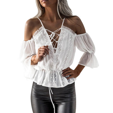 Chiffon Camis Top Women Short Sleeve Off Shoulder Hollow Out Lace For Elegant Casual Top