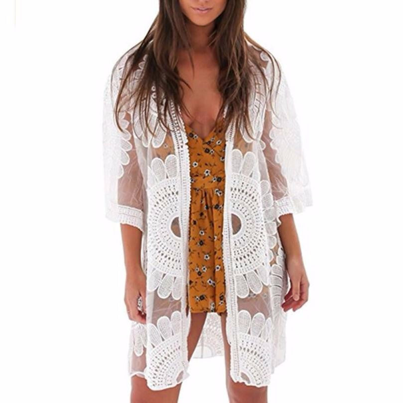 Lace Crochet Floral Beach tunic Top Bikini Cover Up