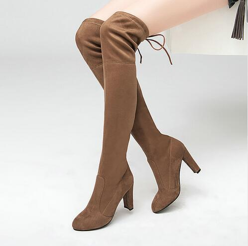 Faux Suede Thigh High Boots Over The Knee Boot Stretch Flock Overknee