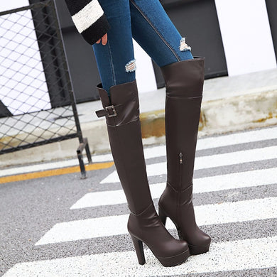 Women Boots Over the Knee  High Heels Thigh High Leather Boots Black Brown Platform Women Shoes