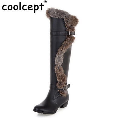 Over Knee Boots Flats Boots Riding Fashion Long Boot Fur Warm Winter Thickened Fur Snow