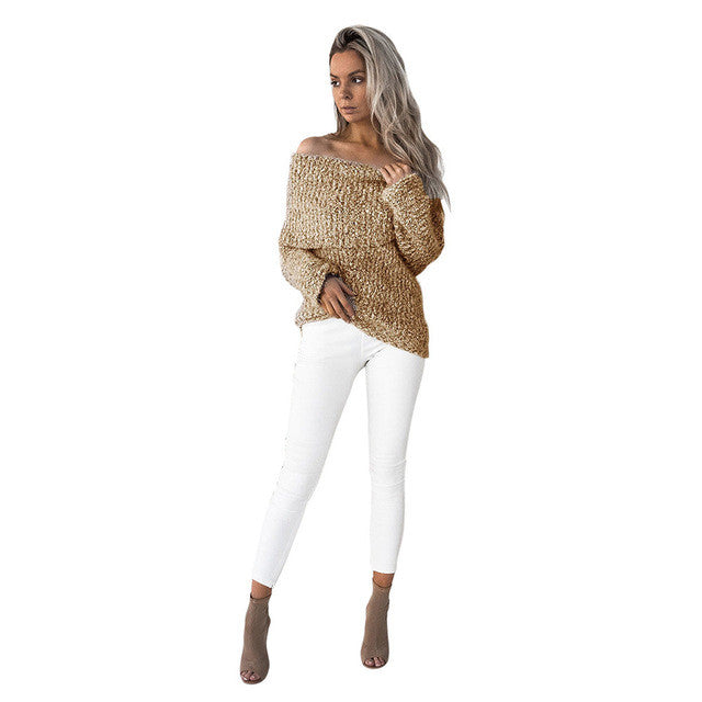 Winter Yellow Gray knitted Sweater 2017 New Arrival - Off Shoulder Womens Sweaters Casual Long Sleeve