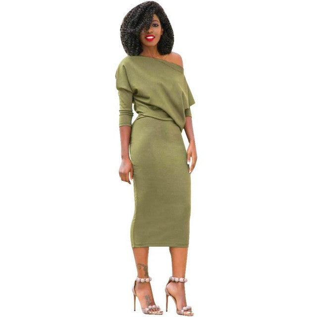 One Shoulder Batwing Sleeve Fashion Sexy Women Long Sleeve Dress For Women Cocktail Party Mid-Calf Dress
